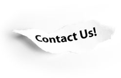 Contact us. Typed in torn paper Stock Images