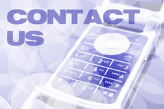 Contact Us. Card with mobile phone Stock Image