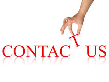 Contact us. Photo with isolated hand Stock Image