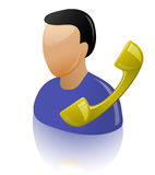 Contact Us. Assistant and telephone receiver. Support. Personal assistant Royalty Free Stock Images