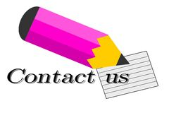 Contact us. A pink pencil and the form contact us Royalty Free Stock Photo
