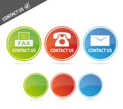 Contact us. Website buttons with fax, phone and e-mail symbols