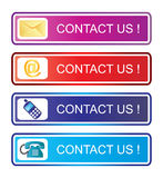 Contact us. Illustration of Contact us advertisement on white background Royalty Free Stock Photos