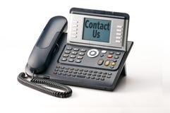 Contact US. Landline telephone isolated on white backgound Royalty Free Stock Photos