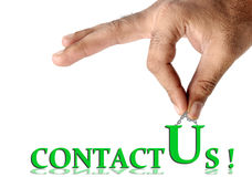 Contact us. Concept image of contact us over white background Stock Photography