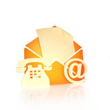 Contact us. Via mail , internet, and phone concept on a white background Royalty Free Stock Photography