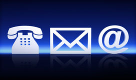 Contact us. Via mail , internet, and phone concept on a blue background Royalty Free Stock Image