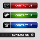 Contact us. Business website buttons with different contact possibilities: Contact us via email, live chat or telephone. Eps file available Stock Photo