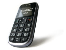 Contact us!. Modern Senior Phone with text message - isolated on white royalty free stock image