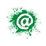 Contact us. White (at) sign on a green splat Stock Images