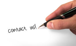 Contact us. Fountain pen writing Contact Us royalty free stock photos