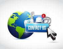 Contact us around the globe concept Stock Photo