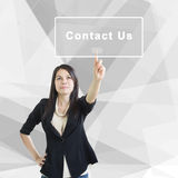 Contact Us. Asian Business Woman Pointing On Contact Us Screen,Concept For Marketing And Service Background Stock Photos