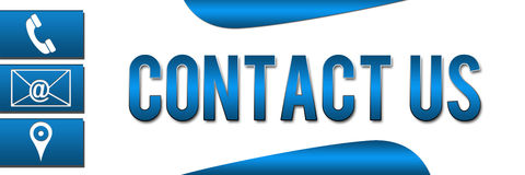 Contact Us Banner Blue Royalty Free Stock Image