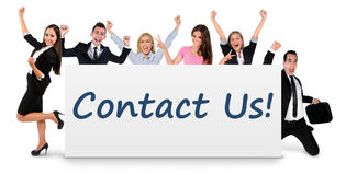 Contact us on banner Stock Image