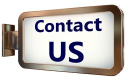 Contact Us on billboard background. Contact Us on wall light box billboard background , isolated on white Royalty Free Stock Photography