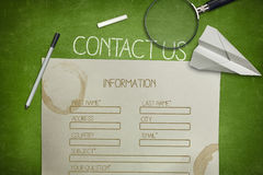 Contact us and blank application concept on green Stock Photography