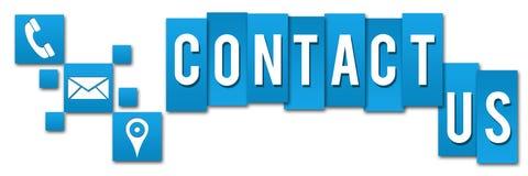Contact Us Blue Squares Stripes Stock Photos