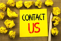 Contact Us. Business concept for Customer Support written on sticky note paper on the vintage background. Folded yellow papers on. Contact Us. Business concept royalty free stock photos
