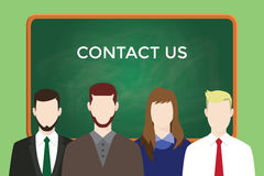 Contact us business illustration team stand together with text on green board as background Stock Images