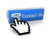 Contact Us button. A button with contact us with a cursor hand Stock Image