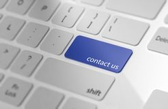 Contact us - Button on Computer Keyboard. 3d Rendering royalty free illustration