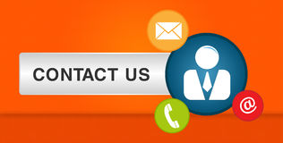 Contact Us Button with Icons on Background Stock Photography