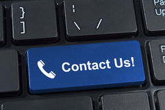 Contact Us button keyboard with icon handset. Royalty Free Stock Photos