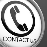 Contact Us Button Showing Customer Service Stock Photo