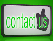 Contact Us Button Showing Customer Service Royalty Free Stock Photography