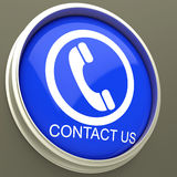Contact Us Button Shows Assistance Royalty Free Stock Images