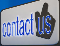 Contact Us Button Shows Help And Guidance Royalty Free Stock Images