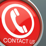 Contact Us Button Shows Helpdesk Stock Photo