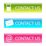 Contact us buttons. Set of three contact us buttons isolated on white background.EPS file available