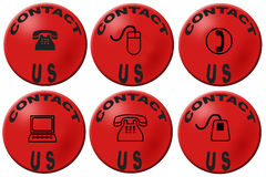 Contact us buttons. Red badges with contact us design Royalty Free Stock Images