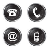 Contact us buttons. Illustration of black and white contact us buttons Stock Photo