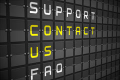 Contact us buzzwords on black mechanical board Royalty Free Stock Images