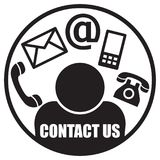 Contact us call mail icons black Royalty Free Stock Images