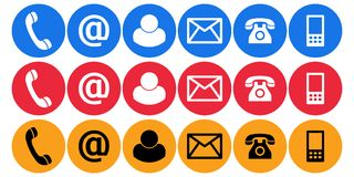 Contact us call mail plain icons Stock Photos
