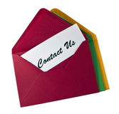 Contact Us- card in the envelope Stock Image