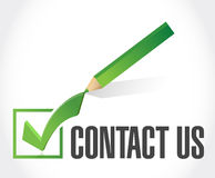 Contact us check mark sign concept Royalty Free Stock Photography