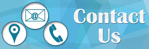 Contact Us Circles Blue Squares Banner Royalty Free Stock Photo