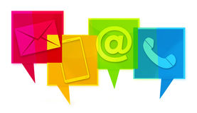 Contact Us Colorfully design graphic icons Stock Photo