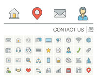 Contact us and Communication color vector icons Stock Photos