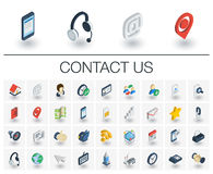 Contact us and Communication isometric icons. 3d vector Royalty Free Stock Image