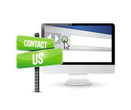 Contact us computer sign concept Stock Image