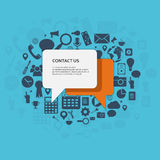 Contact us concept. Contact us. Speech bubbles with text and icons. Flat illustration stock illustration