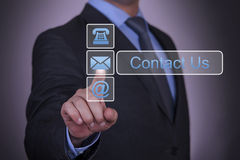 Contact Us Concept Touch with Finger Royalty Free Stock Photo