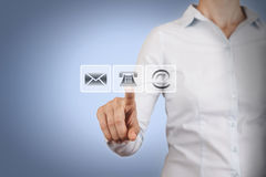 Contact Us Concept on Touch Screen Royalty Free Stock Images