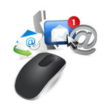 Contact us concept. Wireless computer mouse Royalty Free Stock Photos